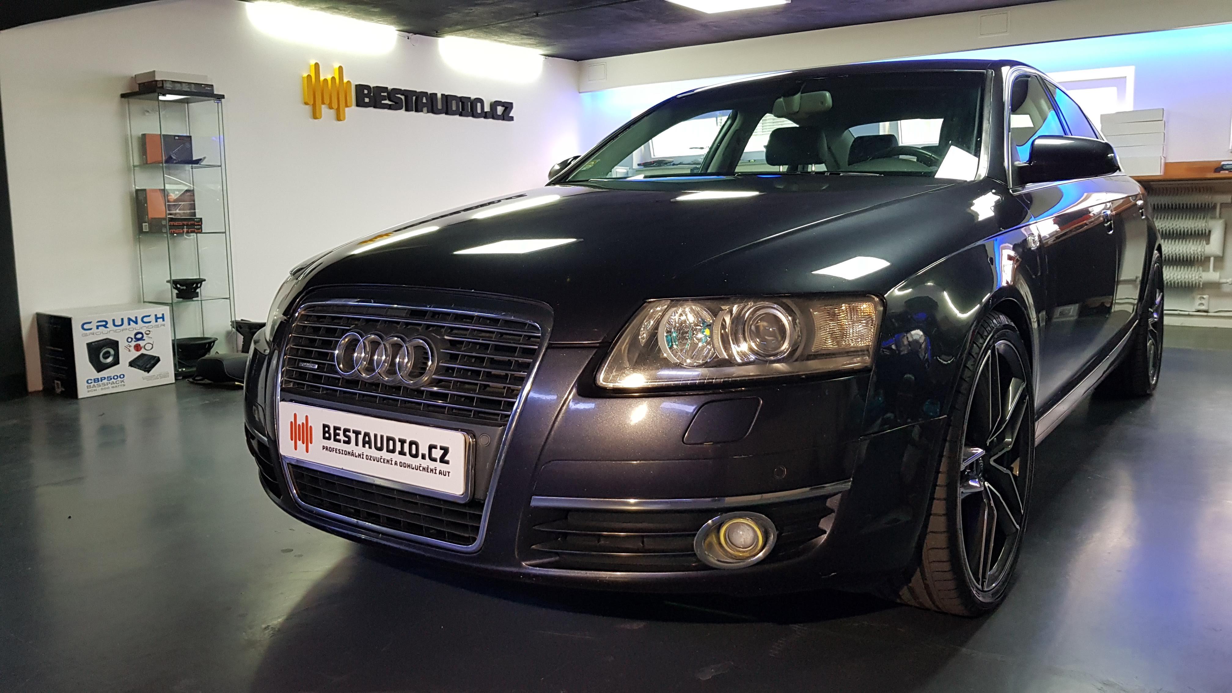 AUDI A6 2009 – výměna předních reproduktorů a instalace zesilovače se subwooferem