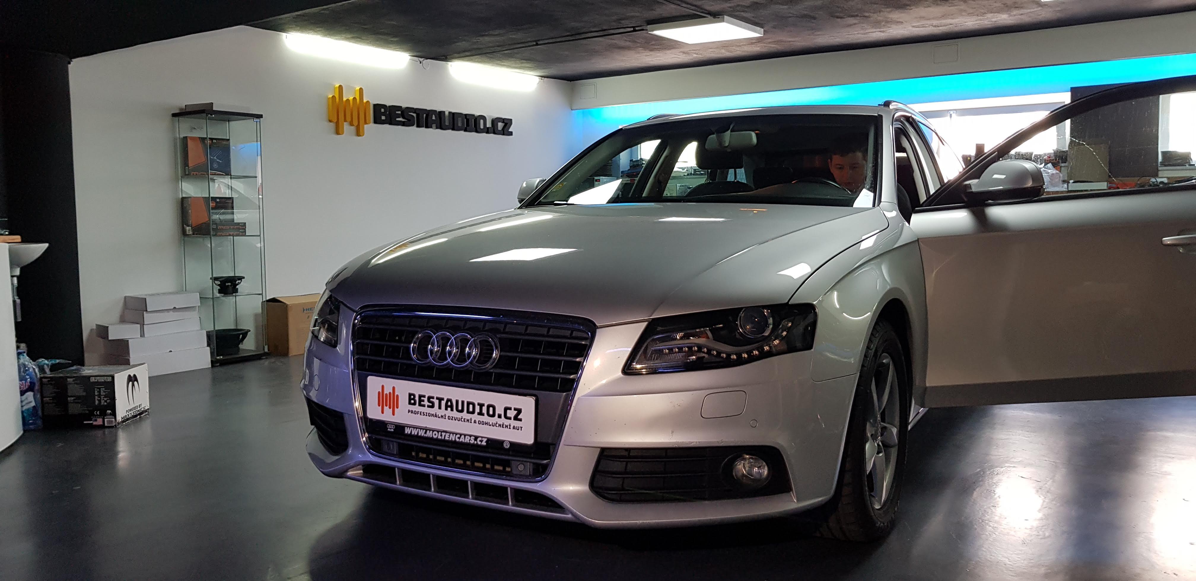 AUDI A4 2012 Avant– instalace zesilovače bez zásahu do vozu, přidání subwooferu