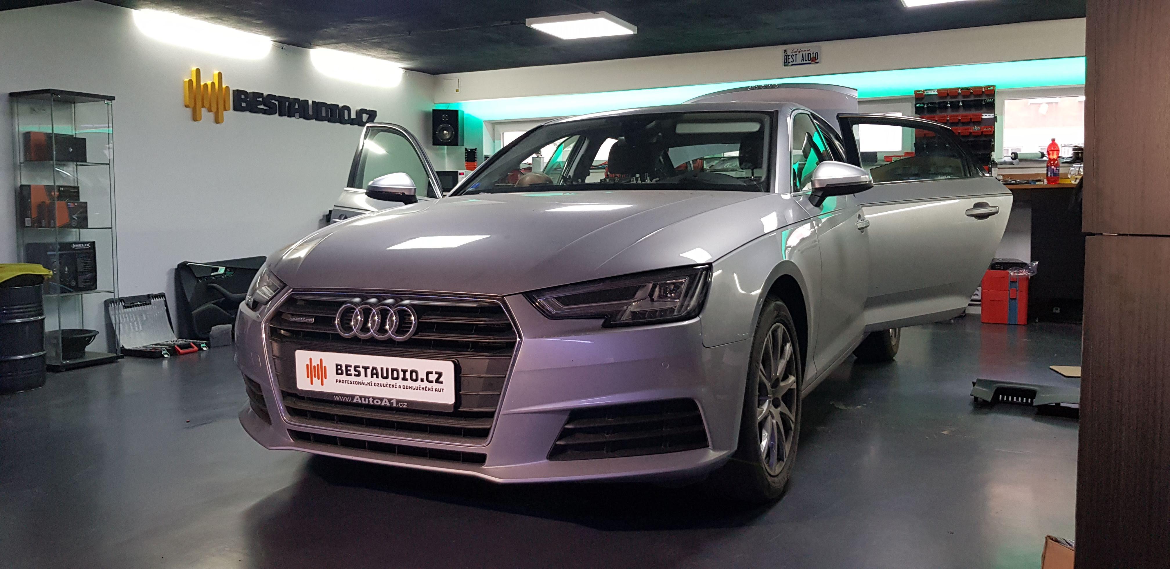 Audi A4 2016 - instalace reproduktorů, subwooferu a zesilovače s DSP