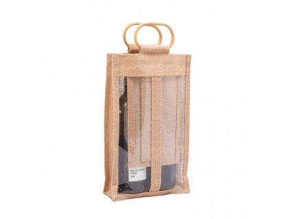 Jutová taška s okénkem pro 2 láhve