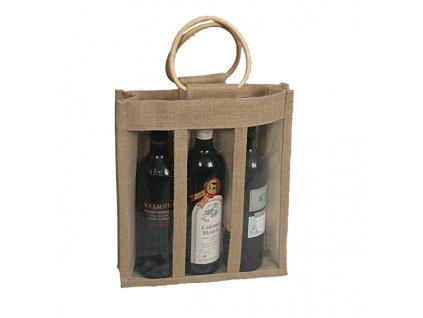 Jutová taška s okénkem pro 3 láhve