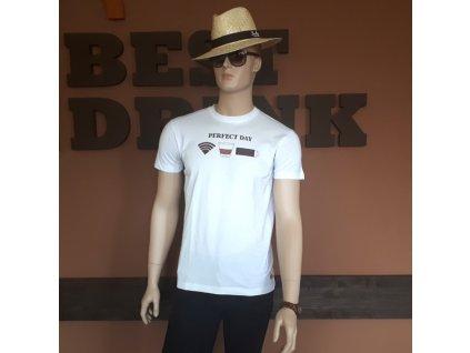 Bílé pánské bavlněné tričko s potiskem L