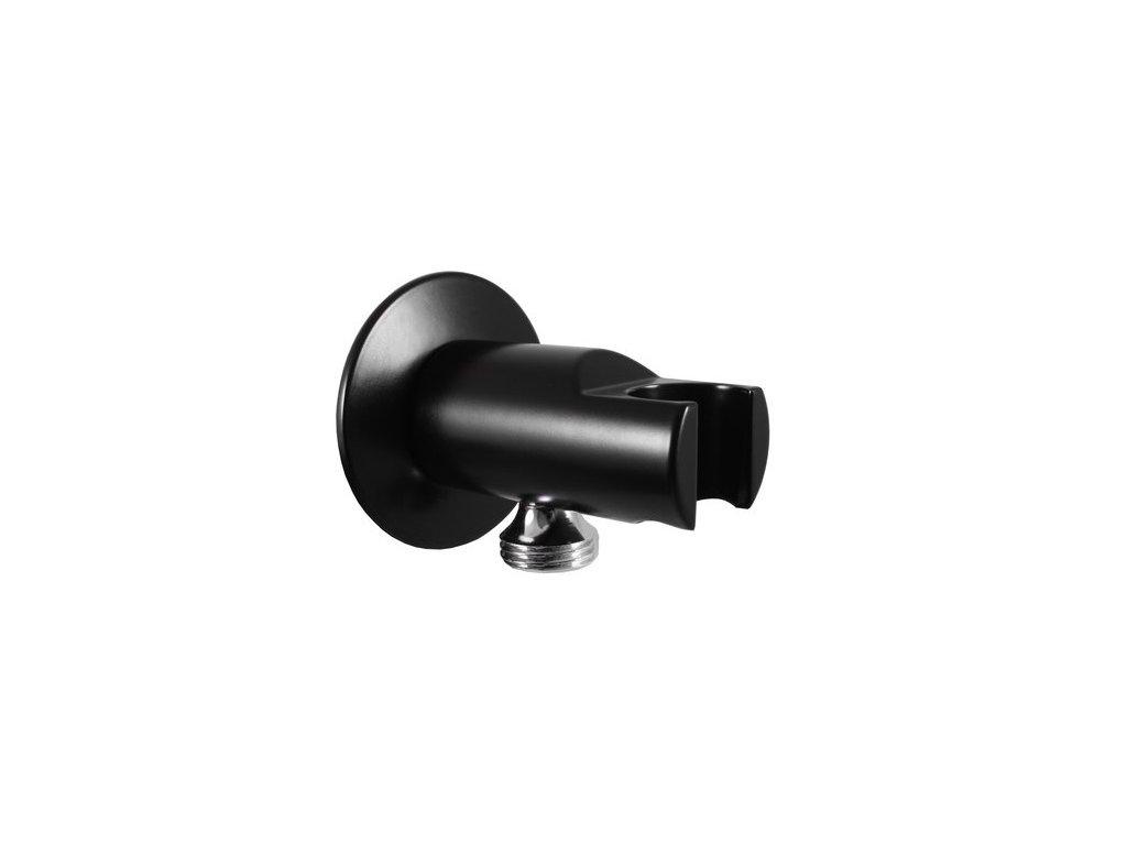 Držák sprchy s vývodem pro hadici - černá matná/chrom