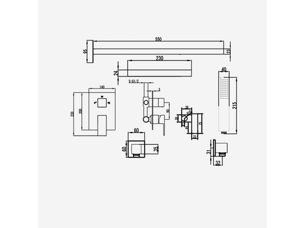 Sprchová trojcestná podomítková baterie s vodopádem GINKO v provedení chrom