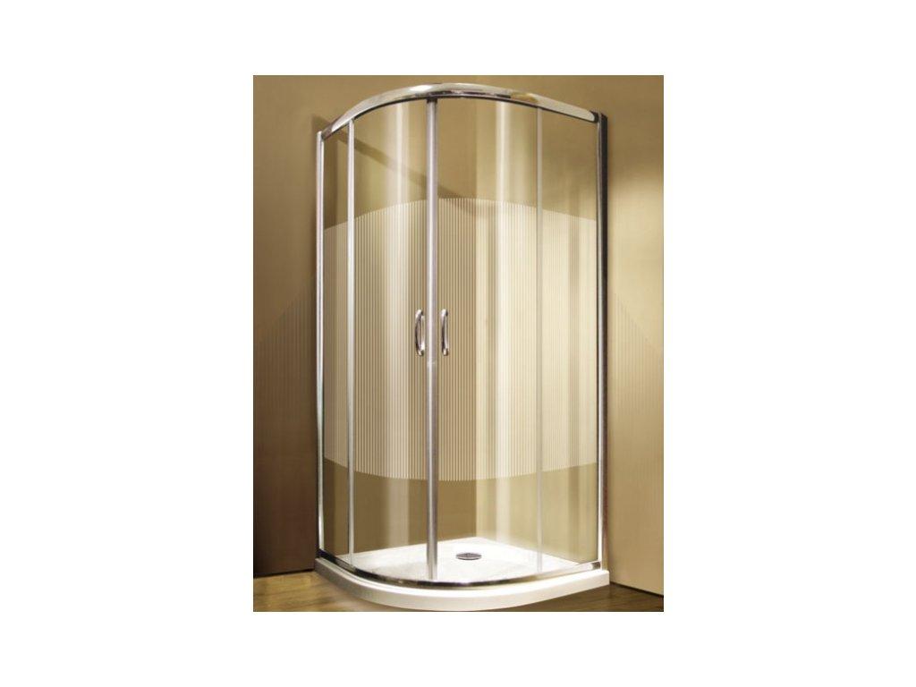 Sprchový kout GIGI čtvrtkruh s pruhovaným dekorem - 2-dílné posuvné dveře 80x80 cm