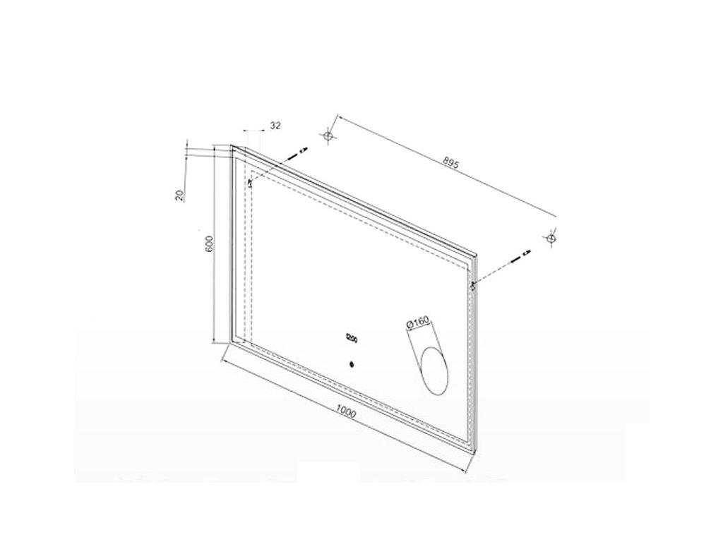 Zrcadlo 100x60cm s hodinami, lupou a LED podsvícením