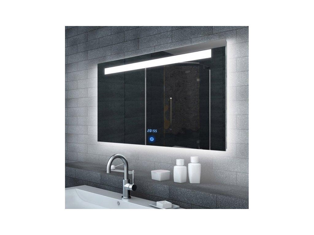 Zrcadlo do koupelny s LED osvětlením a hodinami MALENA 100