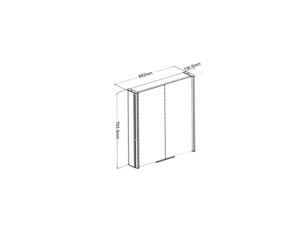 Zrcadlová skříňka MILA BIG s osvětlením a zásuvkou 66x70cm