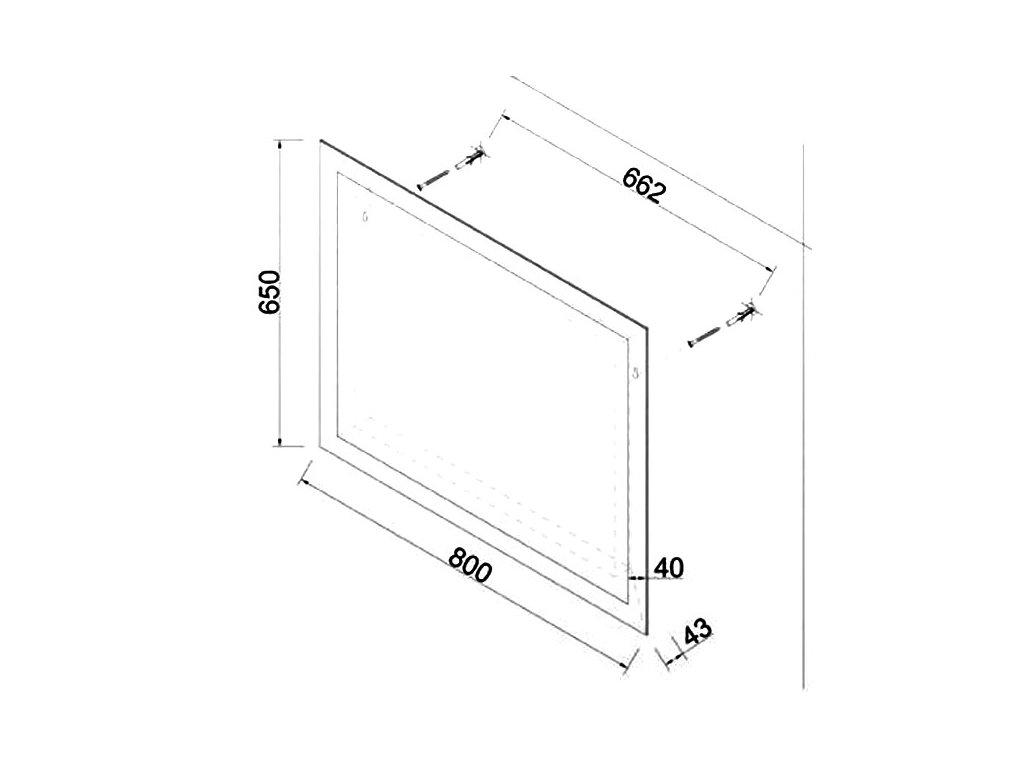 Zrcadlo MILDA 80 s LED osvětlením po obvodu zrcadla