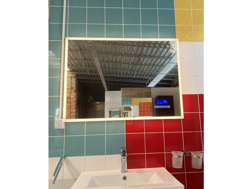 Koupelnové zrcadlo 80x65 cm s LED osvětlením, časem, datumem,teplotou a funkcí BLUETOOTH