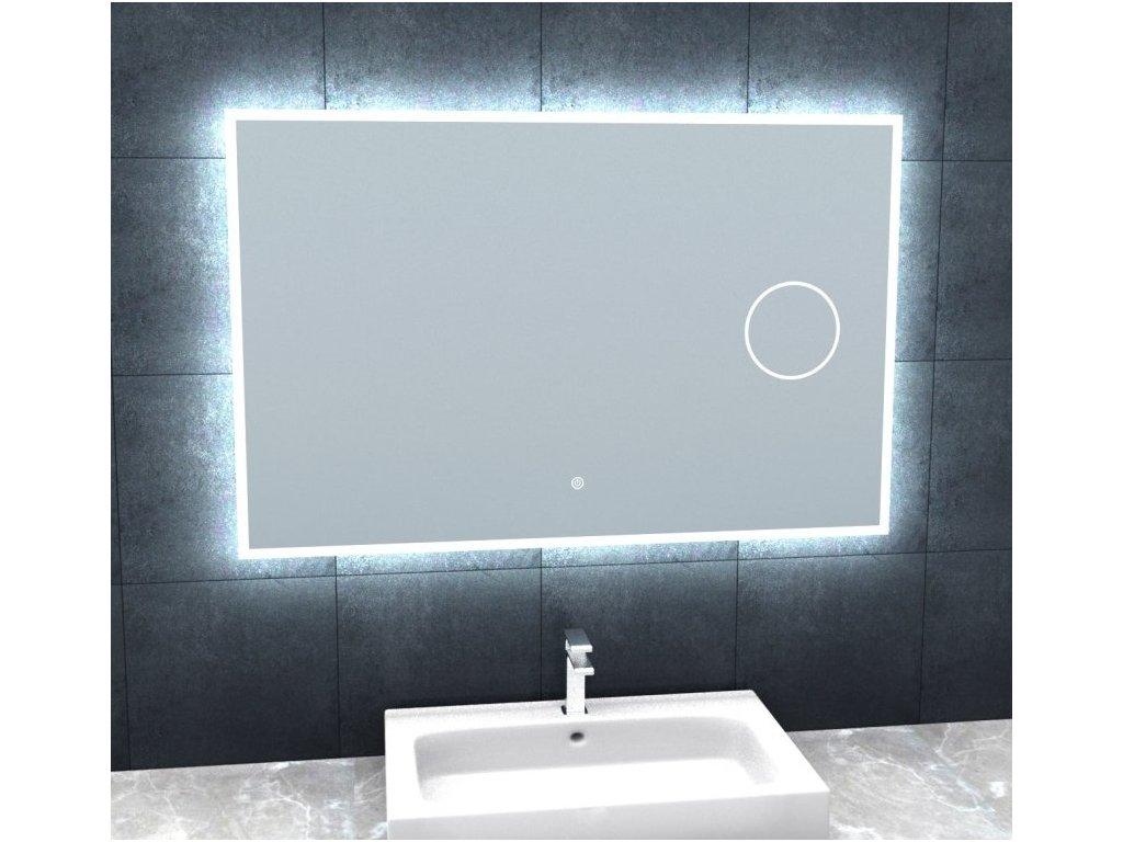 Koupelnové zrcadlo s osvětlením a lupou Besteco BRIGHT SILVER 100x65x3cm