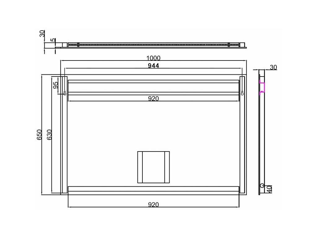 Zrcadlo s bočním LED osvětlením Besteco Slimline 100x70x4cm