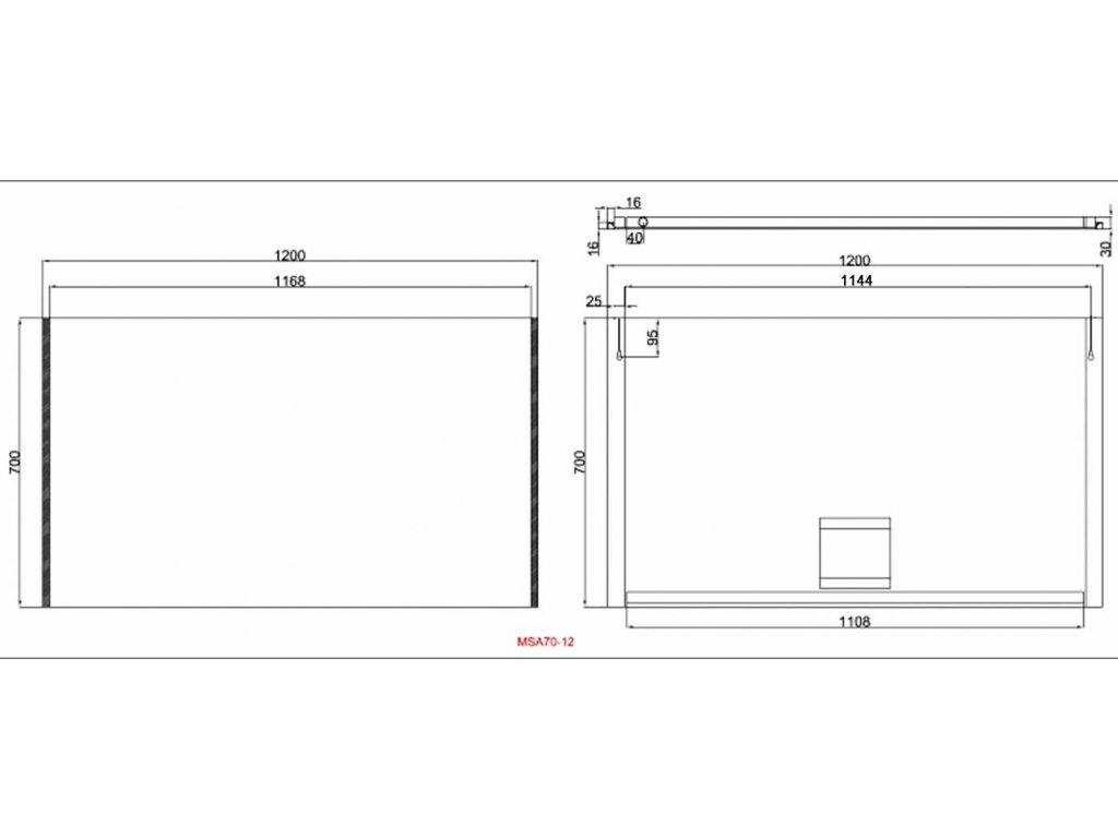 Zrcadlo s bočním LED osvětlením Besteco Slimline 120x70x4cm