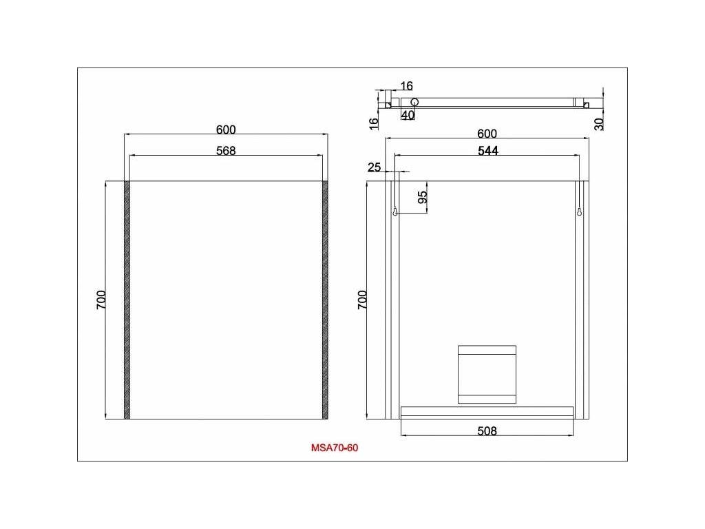 Zrcadlo Besteco MSA s bočním LED osvětlením 700x600x40mm