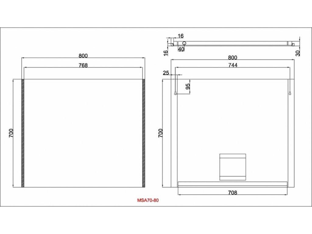 Zrcadlo s bočním LED osvětlením Besteco Slimline 80x70x4cm