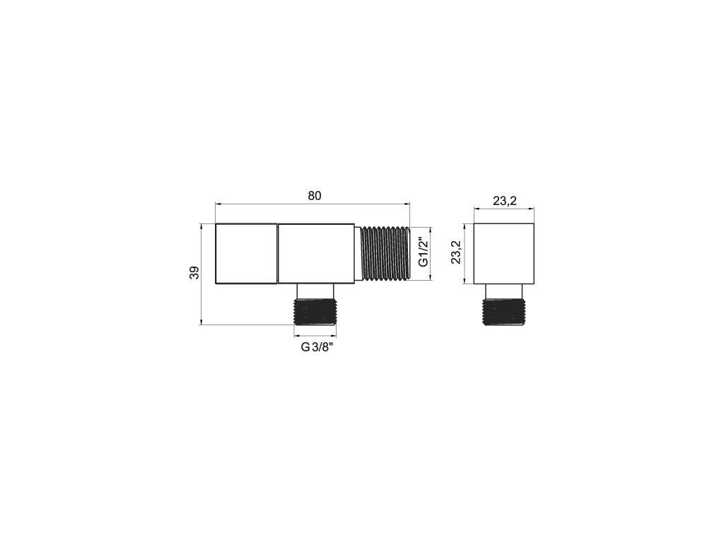 Rohový ventil, hranatý