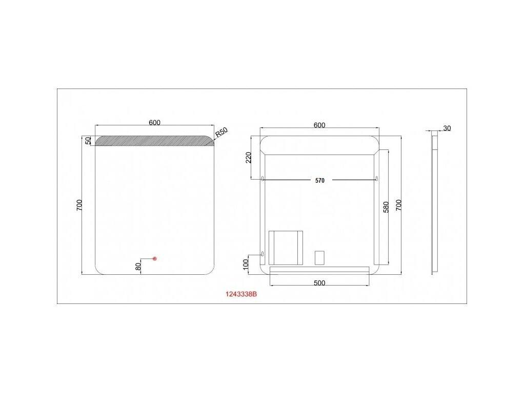 Koupelnové zrcadlo Besteco GURU 60x70 cm s horním a spodním osvětlením 1243338B