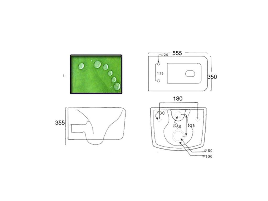 Závěsná toaleta RIMLESS včetně SLIM sedátka - Soft Close URBAN BLACK