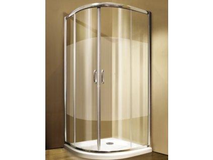 Sprchový kout GIGI čtvrtkruh s pruhovaným dekorem - 2-dílné posuvné dveře 90