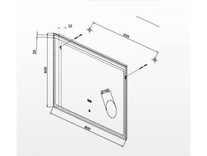 Zrcadlo s hodinami, lupou a LED podsvícením 80x60cm