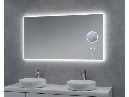 Zrcadlo LUMI 140 s hodinami, lupou a LED podsvícením