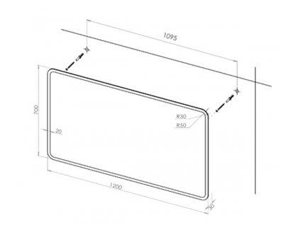 Koupelnové zrcadlo PRAGA 120 s osvětlením po obvodu