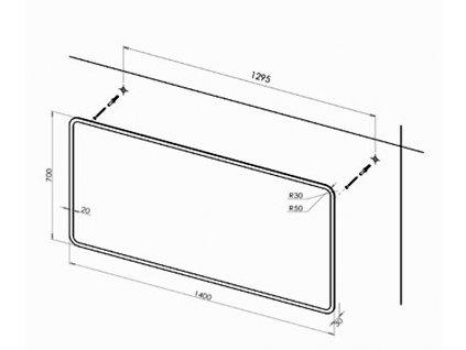 Koupelnové zrcadlo PRAGA 140 s osvětlením po obvodu