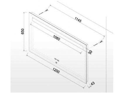Zrcadlo do koupelny s LED osvětlením a hodinami MALENA 120