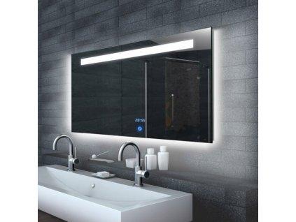 Zrcadlo do koupelny s LED osvětlením a hodinami MALENA 140