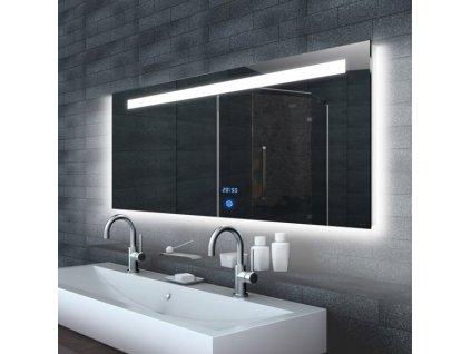 Zrcadlo do koupelny s LED osvětlením a hodinami MALENA 160
