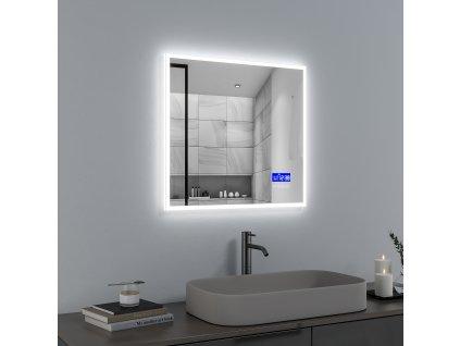 Koupelnové zrcadlo 70x65 cm s LED osvětlením, časem, datumem,teplotou a funkcí BLUETOOTH