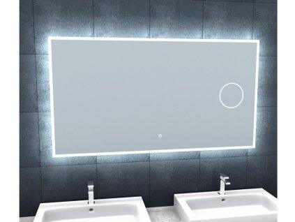 Koupelnové zrcadlo s osvětlením a lupou Besteco BRIGHT SILVER 120x65x3cm