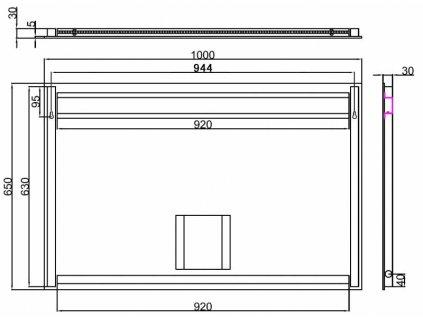 Besteco MSA 100 cm zrcadlo s bočním LED osvětlením MSA70-100