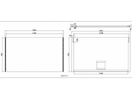 Zrcadlo Besteco MSA s bočním LED osvětlením 700x1200x40mm