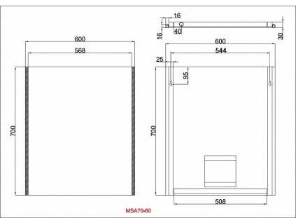 Zrcadlo s bočním LED osvětlením Besteco Slimline 700x600x40mm