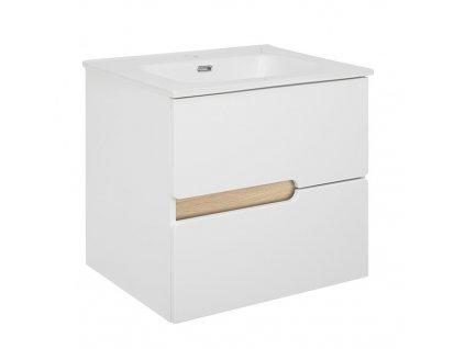 Koupelnová bílá skříňka s keramickým umyvadlem PRAGA 60