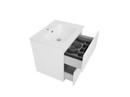 Koupelnová bílá skříňka s keramickým umyvadlem PRAGA 80