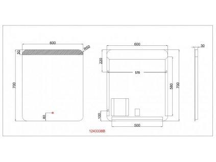 Koupelnové zrcadlo Besteco GURU 60x70 cm s horním a spodním LED podsvícení