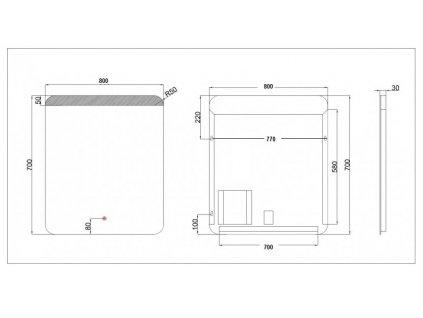 Koupelnové zrcadlo Besteco GURU 80x70 cm s horním a spodním osvětlením 1243339B