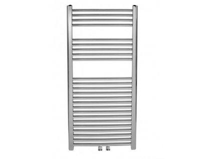 Koupelnový radiátor chrom, rovný se středovým připojením 450x1200 mm