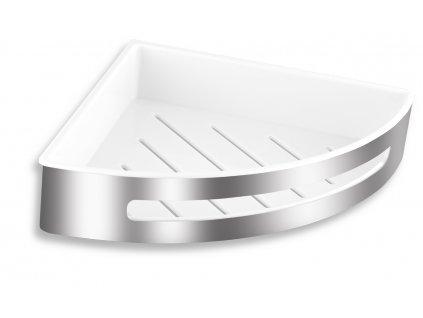 Nerezová rohová polička s plastovou vložkou - velká 24,5x24,5x5,6 cm