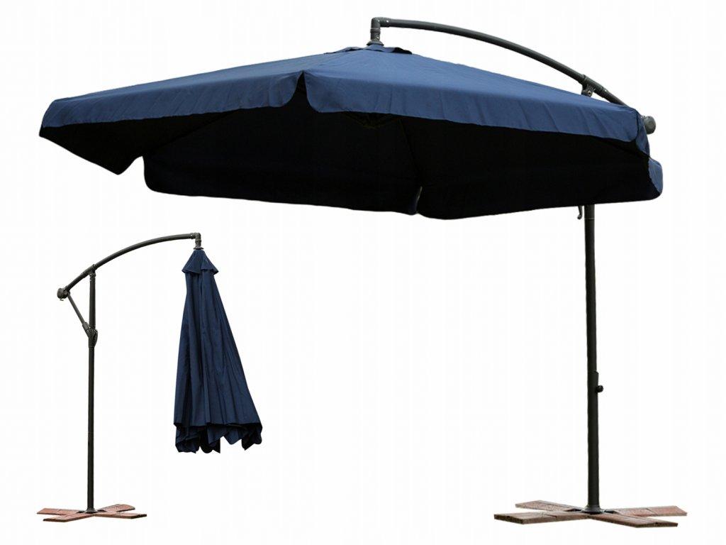 Zahradní skládací modrý slunečník 350cm