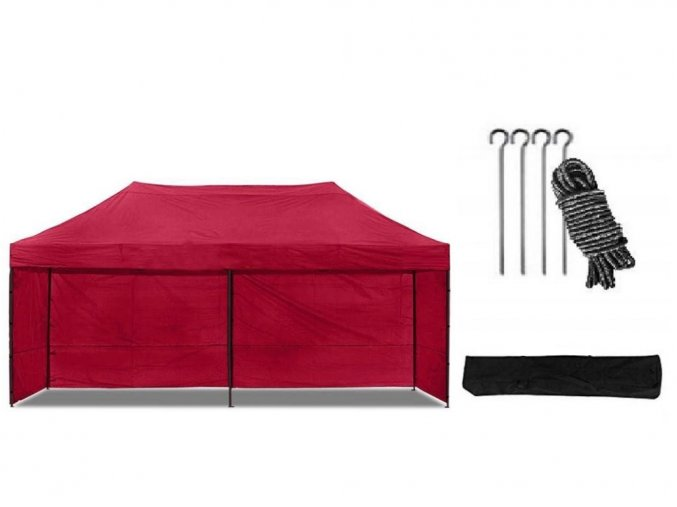 Nůžkový stan 3x6 m červený All-in-One