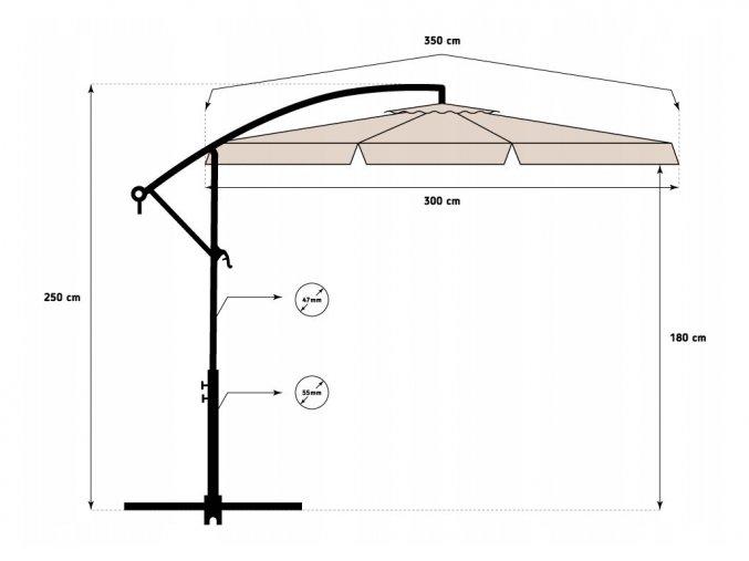Zahradní skládací béžový slunečník 350cm
