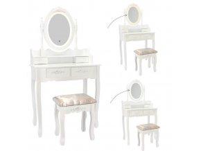 Toaletný stolík s LED zrkadlom Primadona White