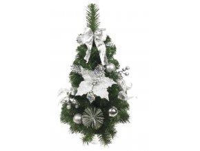 Vánoční stromek na stůl 60cm Silver Poinsettia
