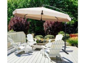 Zahradní skládací šedý slunečník 350cm