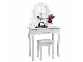 Toaletní stolek Princess WHITE  + dárek LED make-up zrcadlo