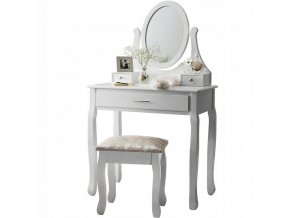 Toaletní stolek Madamme WHITE +Dárek LED MAKE UP zrcadlo  + dárek LED make-up zrcadlo