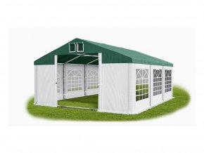 Partystany 5x6m - Premium - ocelová trubková konstrukce, bílý se zelenou střechou